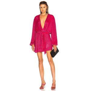 retrofete Gabrielle Sequin Tie Wrap Robe Dress